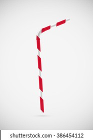 Drinking straw. Isolated on white background. Vector illustration, eps 10.
