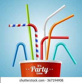 Drinking Straws and Cup Party Placard or Flyer with Inscription. Vector illustration