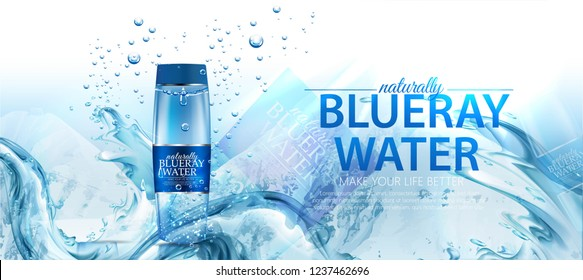 Drinking water ad template design. Vector realistic plastic mineral water bottles with your brand and blue background with water drops.