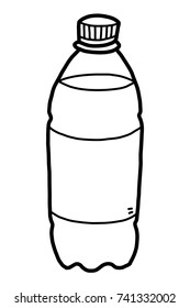 drinking water bottle / cartoon vector and illustration, black and white, hand drawn, sketch style, isolated on white background.