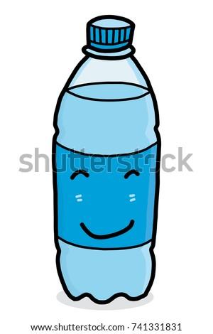 drinking water bottle cartoon vector illustration stock vector