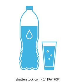 Drinking water icon. Blue plastic bottle with a glass full of soda water isolated on white background. Vector illustration