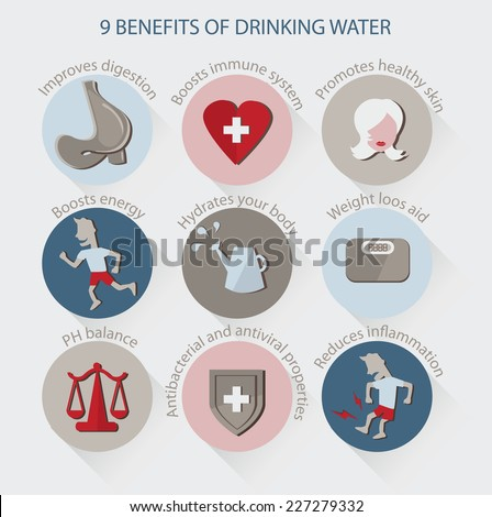 drinking water infographic vector benefits drinking stock vector
