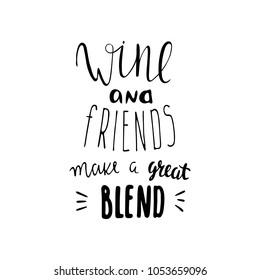 drinking wine lettering