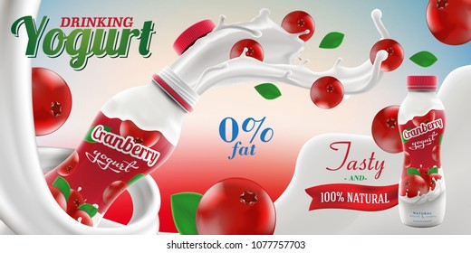 Drinking yogurt ads with natural cranberry taste and flavor with splashing milk swirl commercial vector mock-up hyperrealistic illustration