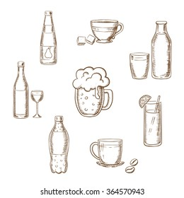 Drinks, alcohol and beverages sketch icons of a wine bottle and glass, beer, coffee, tea, milk bottle and glass, orange juice and soft drink soda. Sketch vector icons