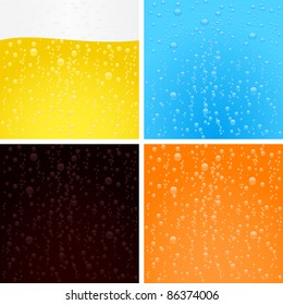 Drinks backgrounds collection. Beer, water, cola and orange soda.