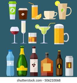 Drinks, bar, set, coffee, tea, wine, beer, juice, flat. Vector illustration flat.