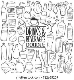 Drinks And Beverages Doodle Icons Hand Made Sketch