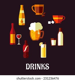 Drinks and beverages flat icons showing silhouettes of a wine bottle and glass, beer, coffee, tea, milk bottle and glass, orange juice and a soft drink soda on a black background, vector illustration