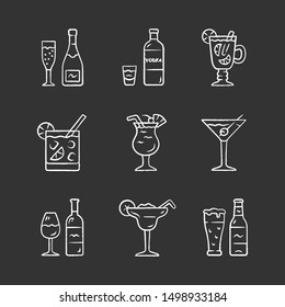 Drinks chalk icons set. Alcohol drinks card. Champagne, vodka, hot toddy, wine, beer, cocktail in lowball glass, martini, margarita, pina colada. Isolated vector chalkboard illustrations