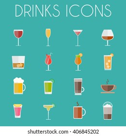 Drinks Cocktail Glasses Round icon Set. Alcoholic and Non Alcoholic Drinks Bar Menu Icons. Wine, Champagne, Whiskey, Tea and Coffee. Digital background colorful vector illustration.