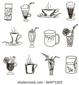 Drinks: coffee,tea,milkshake,beer,lemonade,mulled wine,soda,water,juice,punch,Mojito and others. Sketch hand-drawn on a white background.Vector illustration