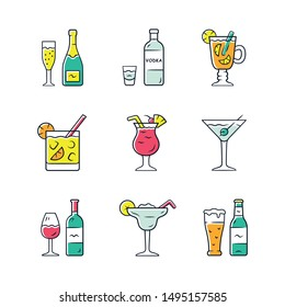 Drinks color icons set. Alcohol drinks card. Champagne, vodka, hot toddy, wine, beer, cocktail in lowball glass, martini, margarita, pina colada. Isolated vector illustrations