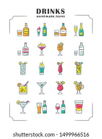 Drinks color icons set. Alcohol menu card. Beverages for cocktails. Whiskey, rum, wine, martini, margarita, absinthe. Refreshing and warming spirit containing liquors. Isolated vector illustrations