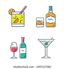 Drinks color icons set. Cocktail in lowball glass, whiskey, wine, martini. Alcoholic beverages for party. Refreshment drinks and mixes. Isolated vector illustrations