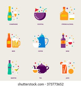 Drinks colorful vector icons set: champagne, cocktail, strong alcohol, beer, coffee, wine, martini, tea, juice