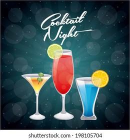 Drinks design over blue background, vector illustration