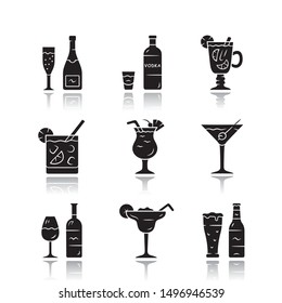 Drinks drop shadow black glyph icons set. Alcohol drinks card. Champagne, vodka, hot toddy, wine, beer, cocktail in lowball glass, martini, margarita, pina colada. Isolated vector illustrations