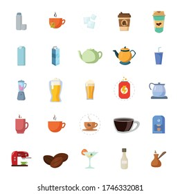drinks flat icon set, with beer, coffee, milk box, soda, energy drink, cup of coffee, kettle, tea
