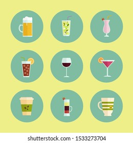 Drinks flat icon. You can be used drinks icon for several purposes like: websites, print templates, presentation templates, promotional materials, info-graphics, web and mobile phone apps.