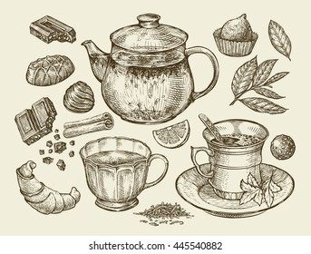 Drinks and food. Hand drawn tea, coffee, teapot, cup, chocolate, candy, croissant, dessert. Sketch vector illustration