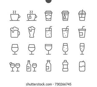 Drinks Food UI Pixel Perfect Well-crafted Vector Thin Line Icons 48x48 Ready for 24x24 Grid for Web Graphics and Apps with Editable Stroke. Simple Minimal Pictogram Part 1-2