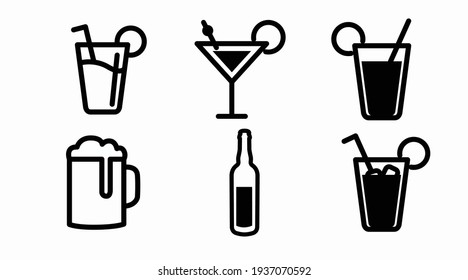 Drinks Icon Set. Vector siolated back and white set of different drinks