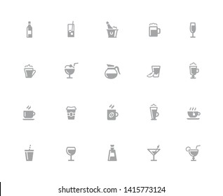 Drinks Icons // 32 pixels Icons White Background - Vector icons designed to work in a 32 pixel grid at ten percent.