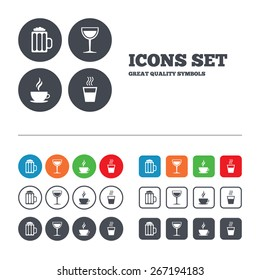 Drinks icons. Coffee cup and glass of beer symbols. Wine glass sign. Web buttons set. Circles and squares templates. Vector
