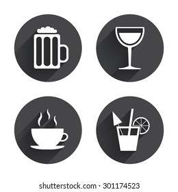 Drinks icons. Coffee cup and glass of beer symbols. Wine glass and cocktail signs. Circles buttons with long flat shadow. Vector