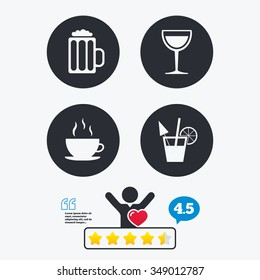 Drinks icons. Coffee cup and glass of beer symbols. Wine glass and cocktail signs. Star vote ranking. Client like and think bubble. Quotes with message.