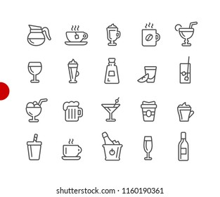 Drinks Icons // Red Point Series - Vector line icons for your digital or print projects.