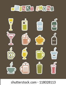 drinks icons stickers over brown background. vector illustration
