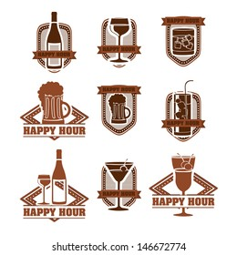 drinks labels over white background vector illustration