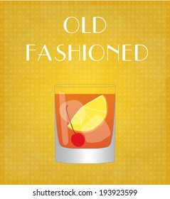 Drinks List Old Fashioned with Golden Background EPS10