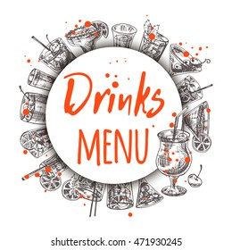 Drinks menu card. Round circle composition. Hand drawn vector illustration.Can be used for menu, cafe, restaurant, bar, poster, banner, emblem, sticker, placard and other design.