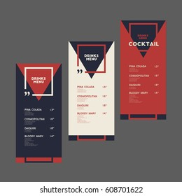 Drinks menu. Cocktail. Set.  Triangle, square and quotes.  For art template design, list, banner, idea, cover, booklet, print, flyer, card, sign, poster.