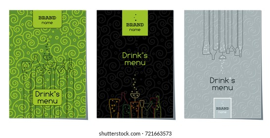 Drinks menu, cover design set, vector templates.