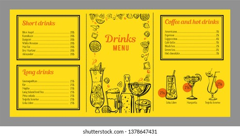 Drinks menu design template with list of drinks and graphics with cocktails, coffee and bottles. Vector hand drawn illustration with yellow background