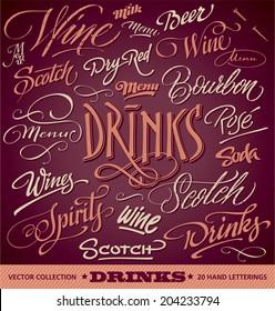 DRINKS menu headlines set of 20 hand letterings -- custom handmade calligraphy, vector (eps8)
