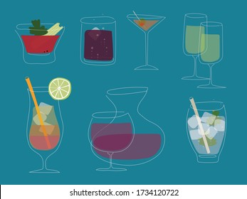 Drinks minimal vector thin line illustration.
