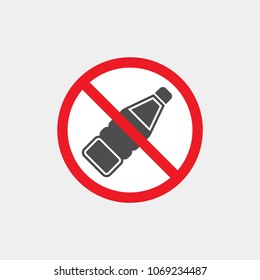 Drinks are prohibited flat vector icon. No drinks flat vector sign. Bottle flat vector icon
