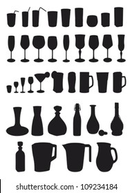 drinks silhouette - glasses and carafe