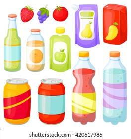Drinks and soda bottle set. Beverage packaging:  plastic ans glass, cans, doy pack, jars, box. Cola, water, juice, soft.