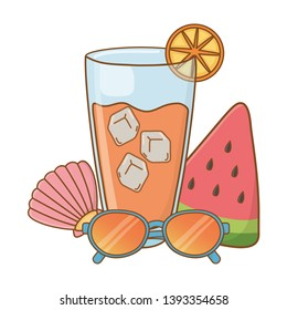 drinks and summer time objets cartoon