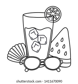 drinks and summer time objets cartoon in black and white