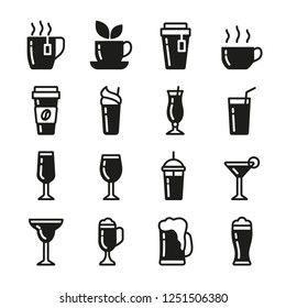 Drinks vector icons set black color. Contains icons cup of tea, coffee, glass for beer, wine, cocktail and alcohol.