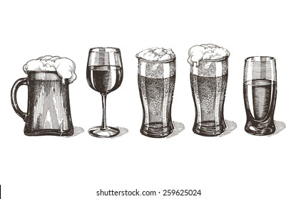 drinks vector logo design template. glasses or alcohol drink icon.