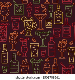 Drinks vector seamless pattern. Alcohol beverages background. Brown texture with hand drawn color icons. Rom, vodka, sambuca, lemonade. Bottles and glasses. Cocktails wrapping paper, wallpaper design